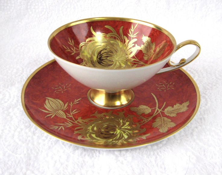 Red Alka Bavaria Cup And Saucer Gold Chrysanthemums Patricia 1950s Martini #VintageTeacups #AfternoonTea #AntiquesAndTeacups