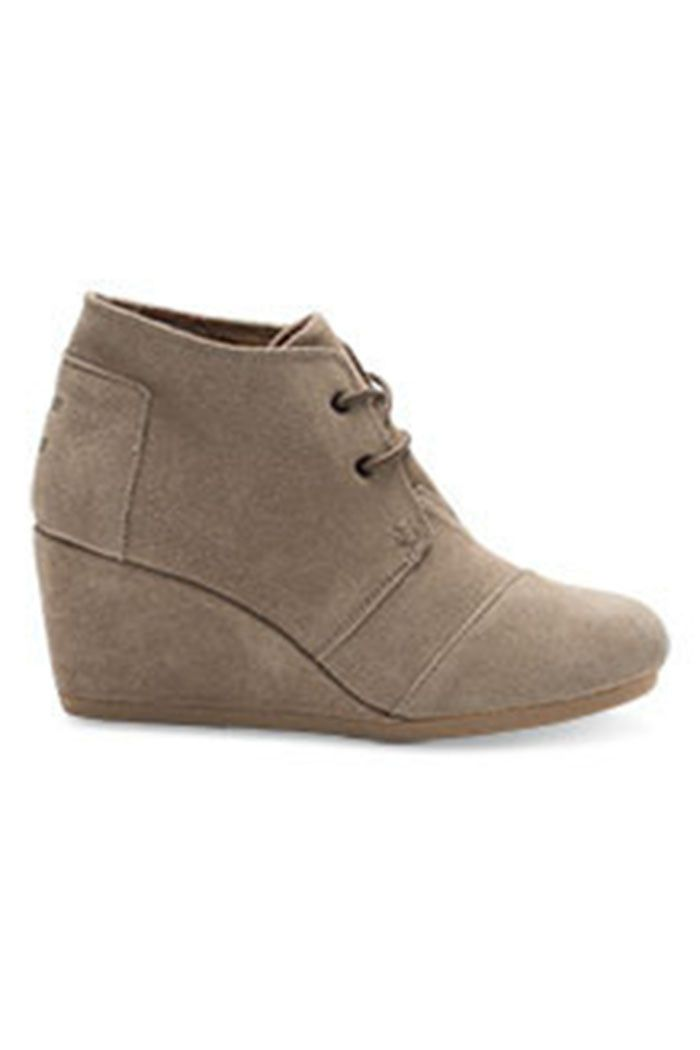 "Amazing TOMS wedge suede shoes with lace up front. Wedge heel measures approximately 3"" at the highest point. Cute and comfortable. Taupe or black - both would look amazing with jeans, leggings, and d"