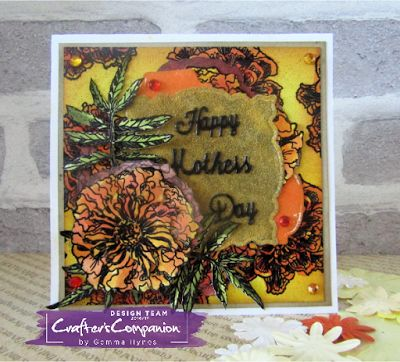 Mothers day card using Sheena's Marigold Stamps and Diesire Essential Dies #sheenadouglass #crafterscompanion #mothersday #paperflowers #inkykitty