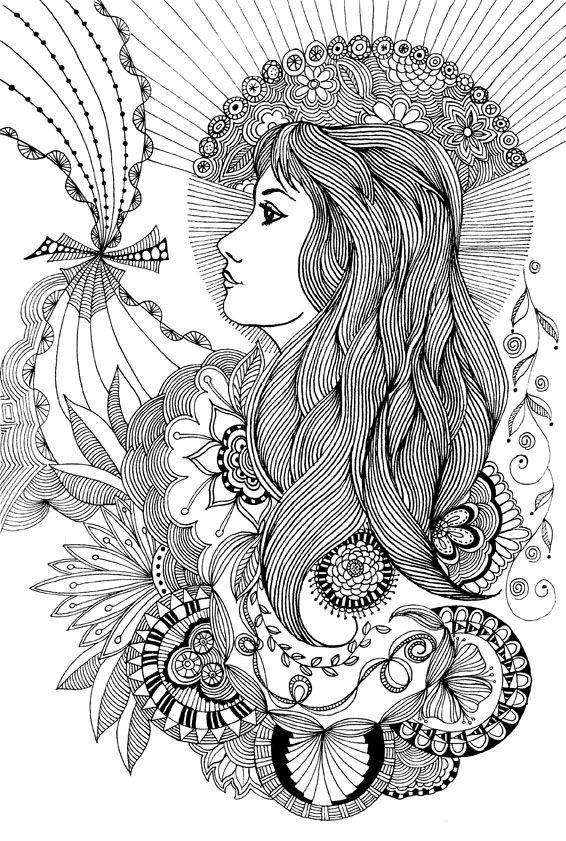 Flower Woman Doodle Coloring PagesAdult
