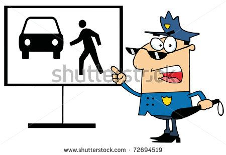 Police Officer Shouting And Pointing To A Pedestrian Sign