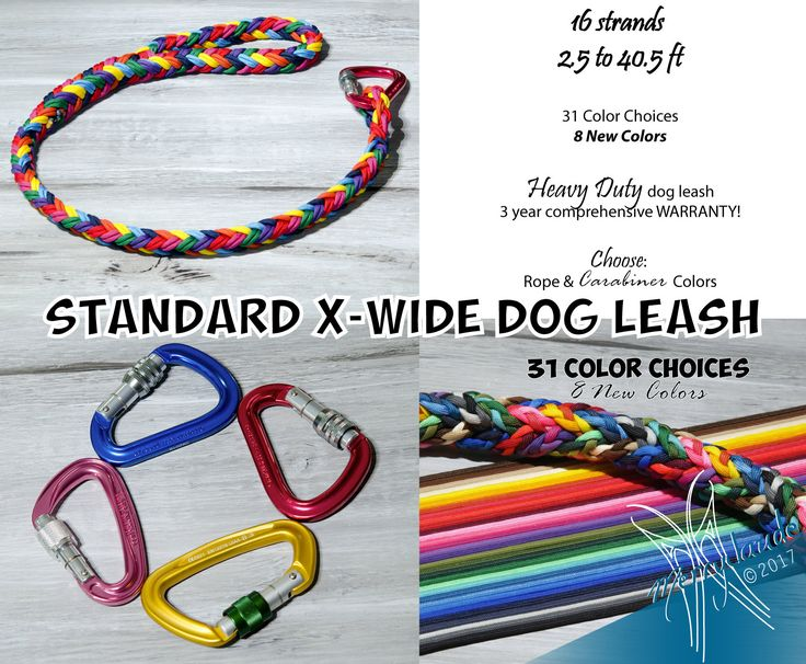 2.5 to 40.5 ft - Standard X-Wide Paracord Dog leash - 16 strands - Screw climbing carabiner - Heavy Duty - Customizable