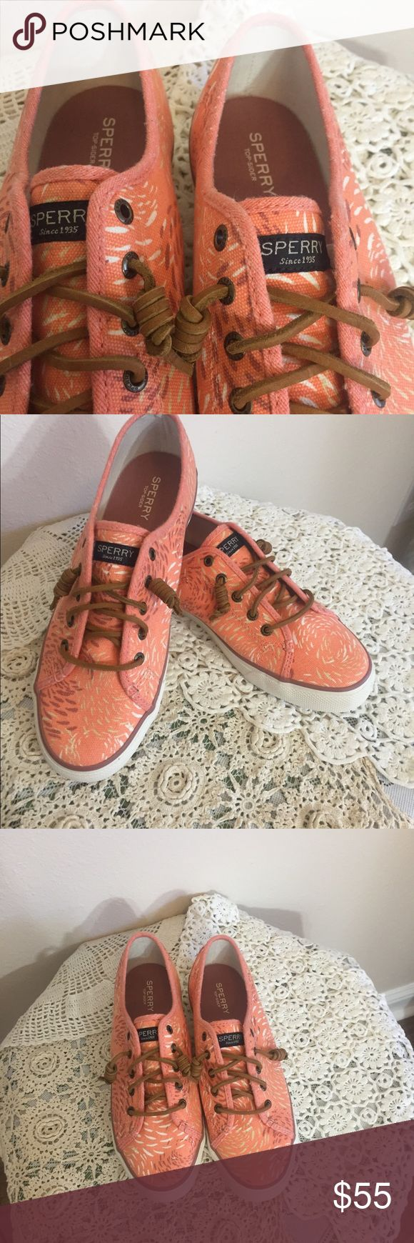 NWOT Peach Floral Canvas Sperry Top-Siders These cute flats are perfect for slipping on and off before running out the door since you don't even have to tie them! They have never been worn outside of the store. New without tags. The shoe laces are leather and hold well. Sperry Top-Sider Shoes Flats & Loafers