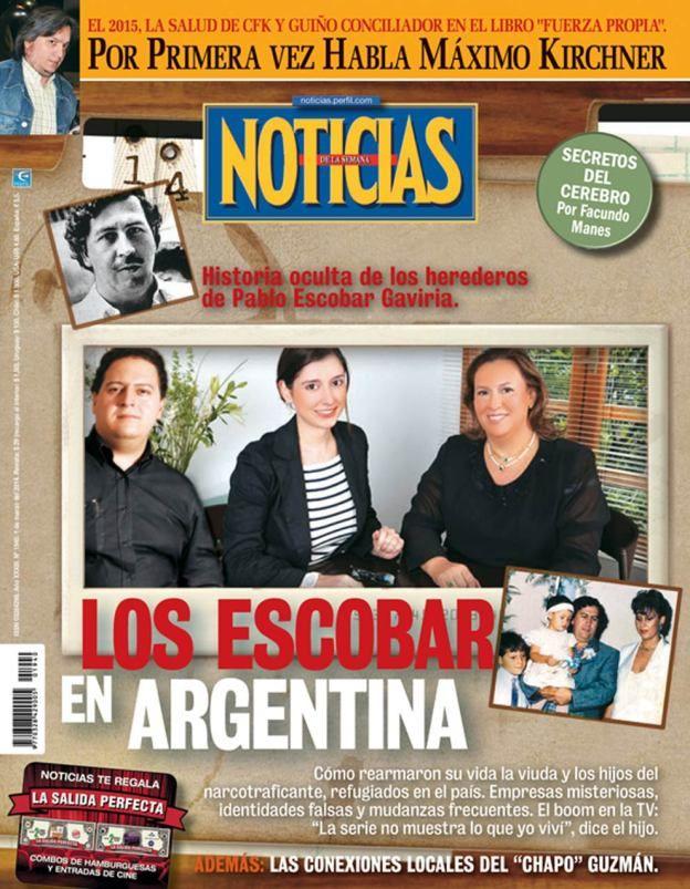 La familia de Pablo Escobar en la Argentina. Tapa de revista Noticias que sale esta noche.