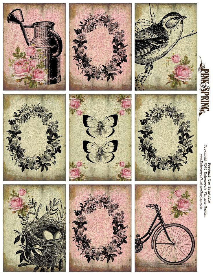 Ephemera's Vintage Garden: Free Printable - Spring ATC's/Pocket Letter Cards. Personal use only.