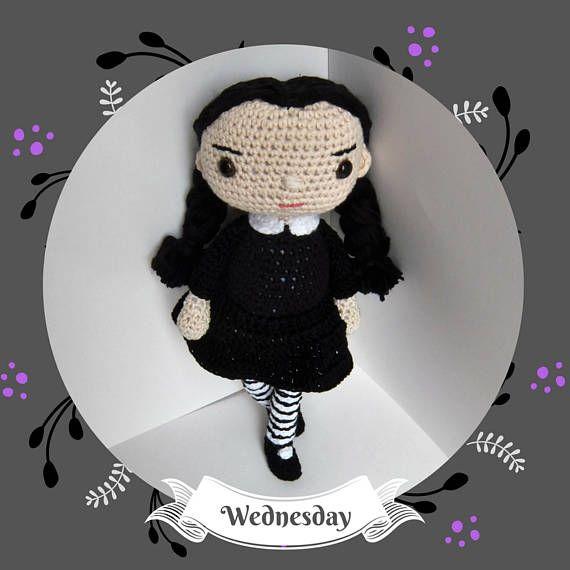 Amigurumi cotton Wednesday doll