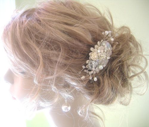 Bridal Hair Comb Ivory Rhinestone Pearl Wedding Hair Accessories Ivory Bridal Clip