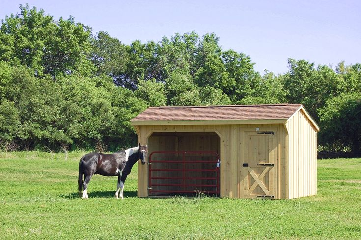 10x16 Ft Run In Horse Shed With 6 Ft Tack Room Barn
