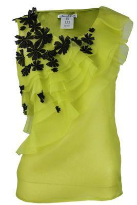Oscar De La Renta Sleeveless Tier Organza Flower Blouse in Green (chartreu)