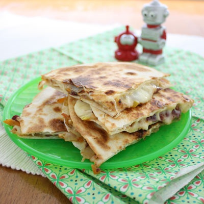 vegie quesadillas - SO many healthy ingredients smuggled inside these.