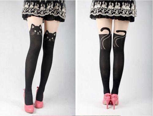 non so se affidabile . Women Sexy Cat Tail Gipsy Mock Knee High Hosiery Pantyhose Tattoo Legging Tights