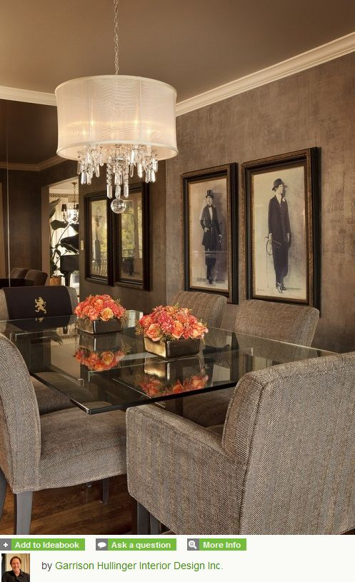 Crystal Chandelier With Sheer Shade Dining Room