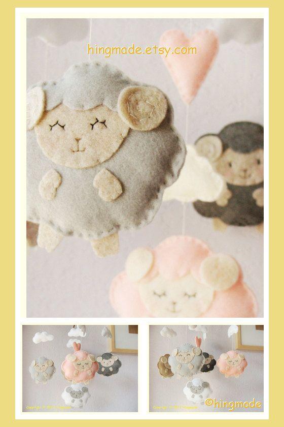 Sleepy Sheep Mobile - Baby Crib Mobile - Nursery Mobile - Classic Sweet Mobile - Sleepy sheep farm theme(You can pick your colors)
