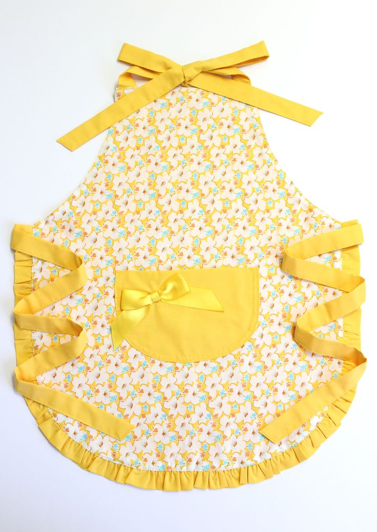 Yellow Kids Apron, Childrens Aprons, Frilly Kids Apron, Toddler Girl Apron, Gifts For Girls, Kids Cooking Gift by LittleFoxSewsLots on Etsy