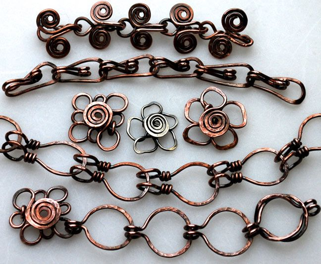 Unique chain ideas for jewelry.  This image was originally taken from the Nov. 3-6, 2011 Weekend with the Wire Masters event at Dana Point, CA.  If you have any information regarding the artist or correct source, please comment.