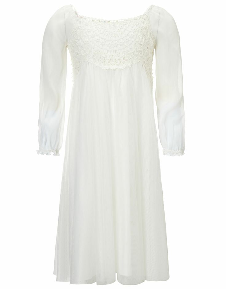 Long Sleeve Estella Dress | White | Monsoon