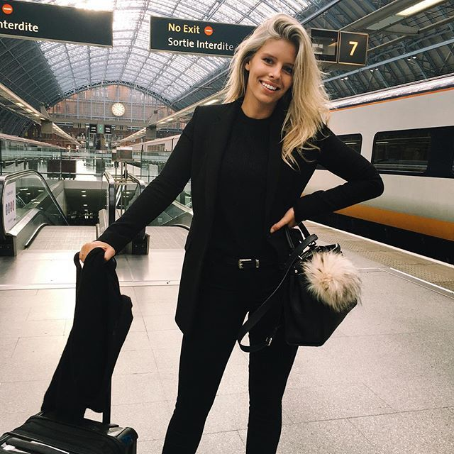 """This is one of those """"I'm secretly dying and out of breath but smiling for the camera"""" photos  Got in some serious cardio because I almost missed my train but am now on the way to Paris!"""