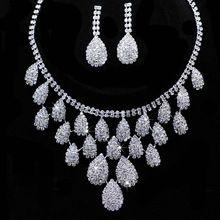 Lote brilhante jóias nupcial do casamento define Gift Set gota do rasgo colar Set jóias conjuntos de cristal(China (Mainland))