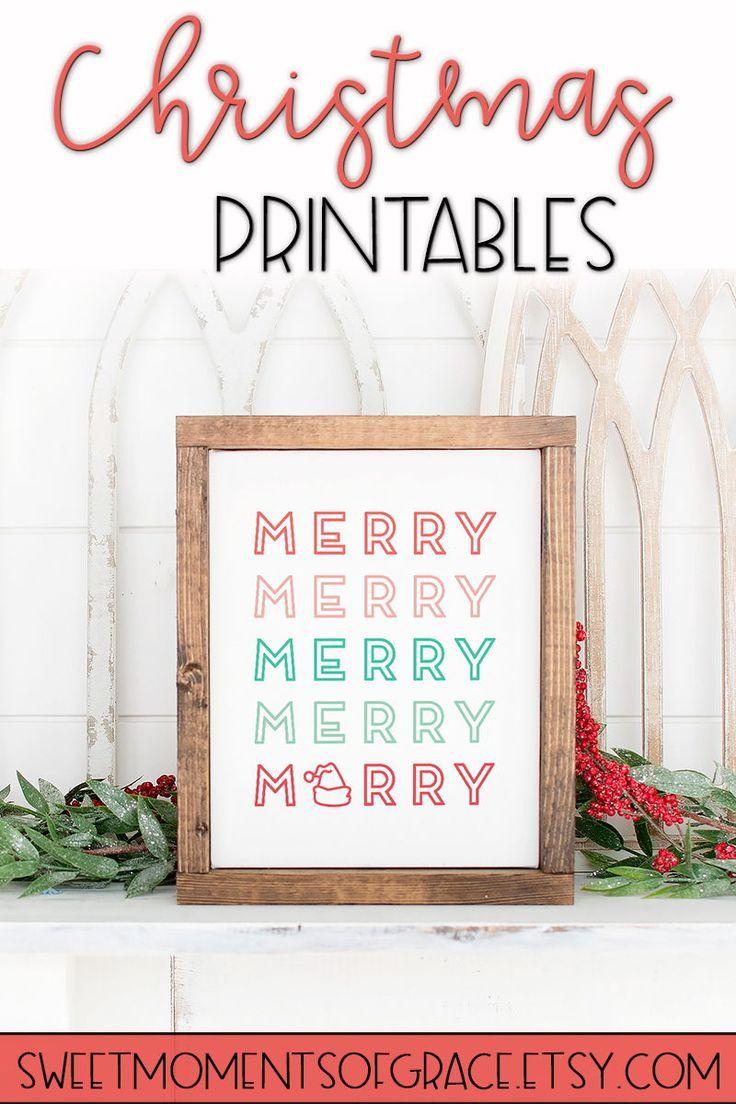 Modern Christmas Printable Wall Art Colorful Merry Word Art Etsy In 2020 Free Christmas Printables Christmas Signs Christmas Countdown Diy
