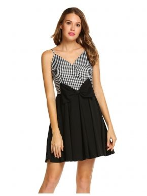 Mujeres Strap V-cuello Plaid Mini vestido plisado alta cintura Slim Party