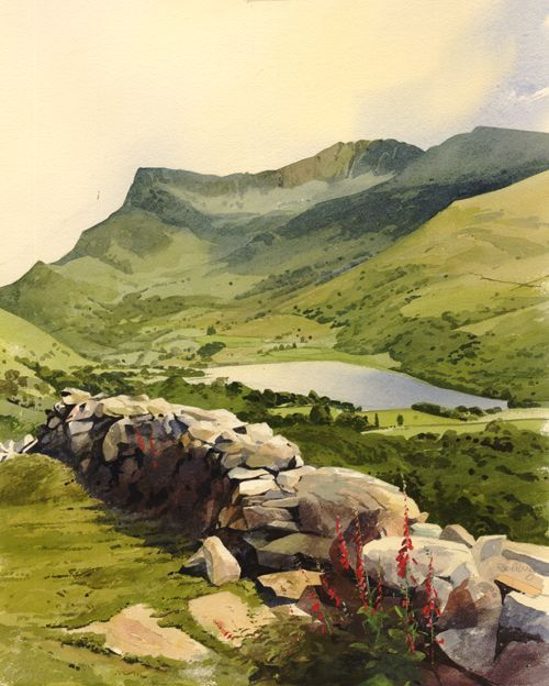 Dyffryn Nantlle, an original watercolour painting by Rob Piercy: