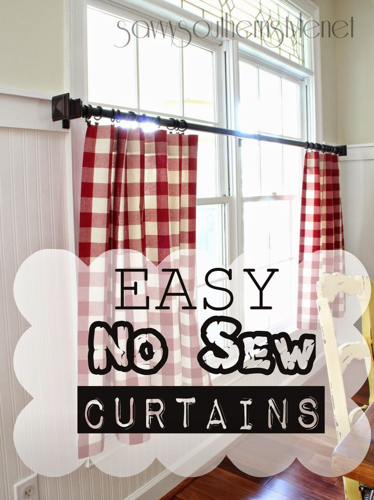 Easy no sew curtains, cafe curtains, buffalo checks