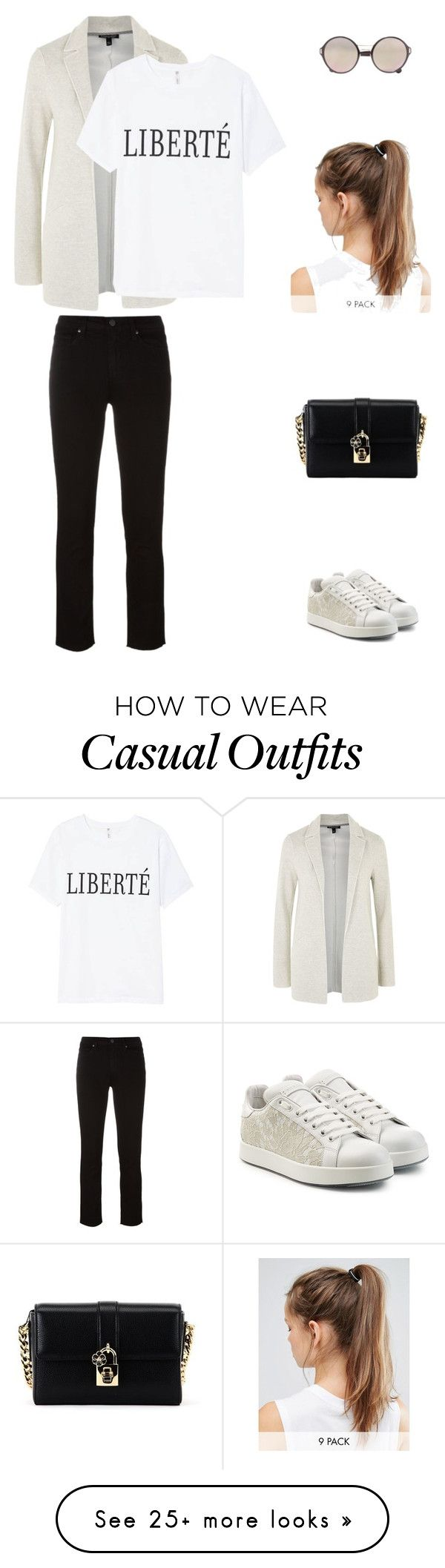 """""""Casual #6"""" by malamati on Polyvore featuring Paige Denim, Topshop, Dolce&Gabbana, Prada and NIKE"""