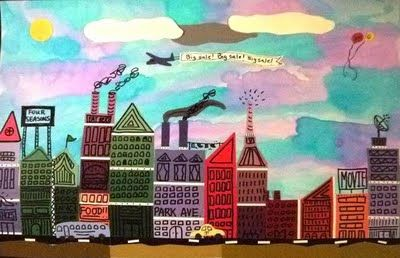 """Paint Chip City Scape...would be great to do for the city scene art project in """"How To Make an Apple Pie & See the World."""""""