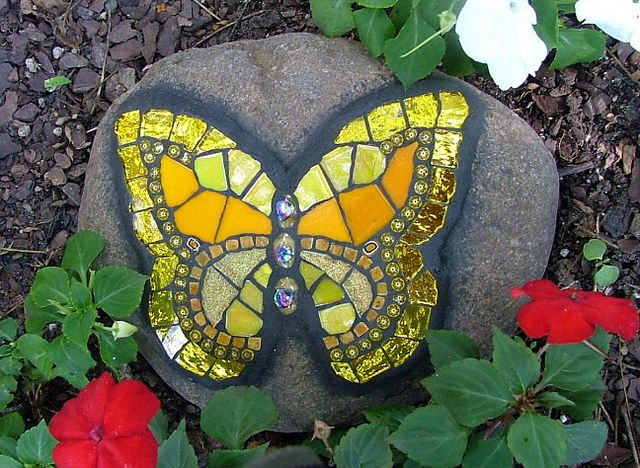 Mosaic Yellow Butterfly on Rock