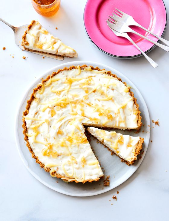 Lemon ginger crunch tart recipe - this easy dessert with lemon curd, ginger and yuzu citrus can be assembled in just 20 minutes! A perfect last-minute quick fix if you're hosting this summer.