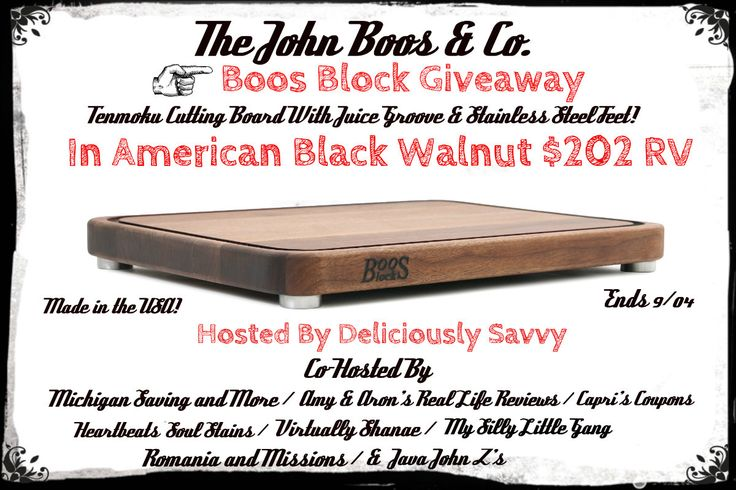 The John Boos & Co Boos Block Giveaway ~ Pinterest Follows #2  a Rafflecopter giveaway