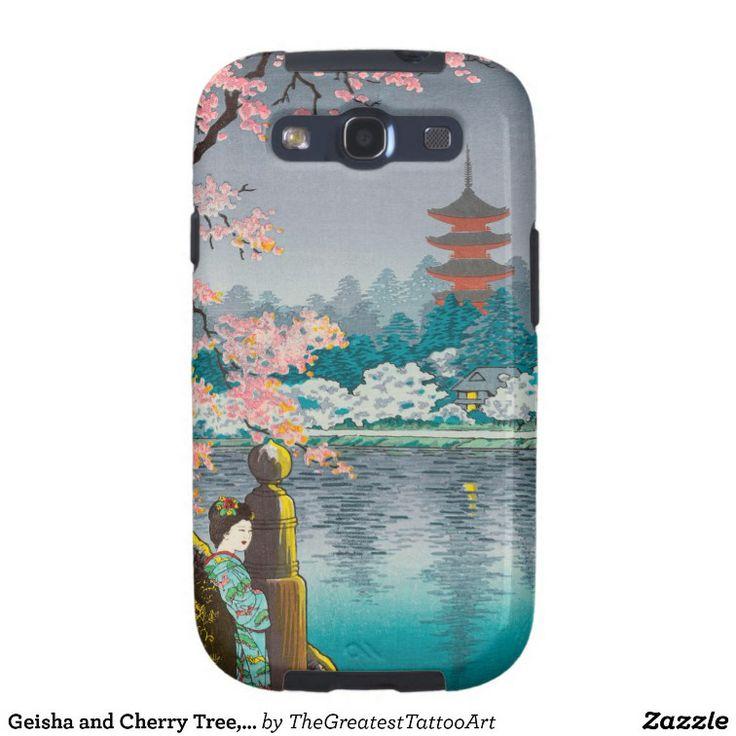 Geisha and Cherry Tree, Ueno Park japanese scenery Samsung Galaxy SIII Case