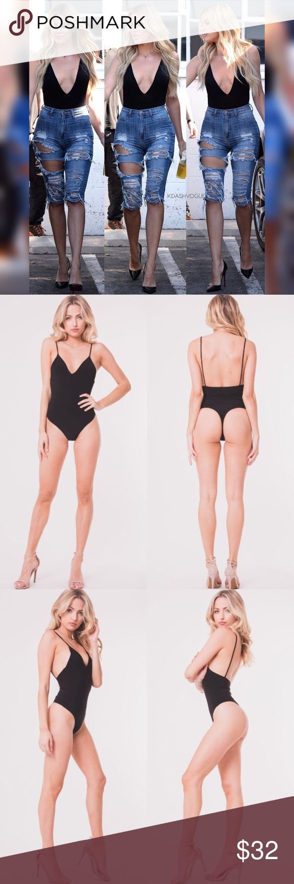 """🆕 Khloe Bodysuit 💋 Get Your Khloe K On With This Must Have Sexy Bodysuit 😍  -SOLID -SPAGHETTI STRAPS -DOUBLE LAYERED -SNAP BOTTOM -OPEN BACK  96% POLYESTER, 4% SPANDEX  Model Measurements HEIGHT 5`7"""" WAIST 24"""" BUST 34""""B Jubis Boutique Tops"""