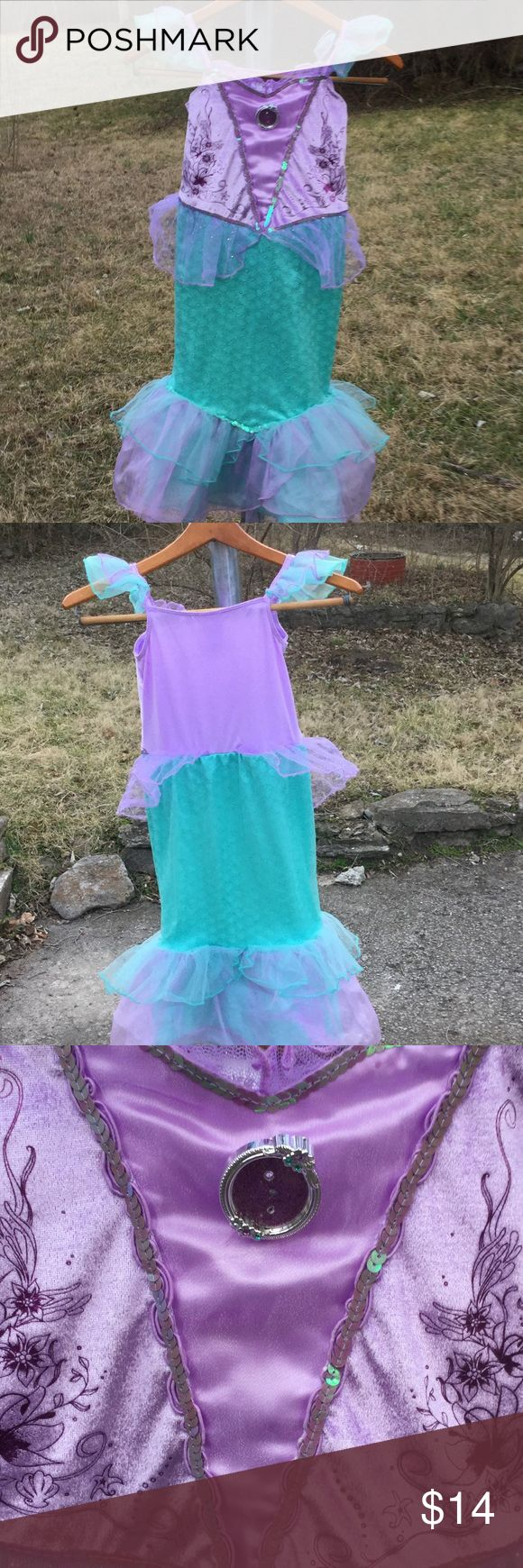 Disney Store mermaid costume . Fully lined with a very soft fabric . Many layers of petticoats. Sequence embellishment. Purple and aqua blue/ green. Disney Store Costumes Halloween