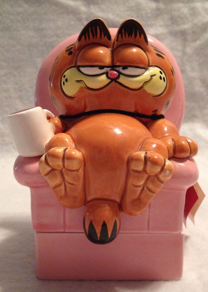 Enesco 1978 / 1981 by Jim Davis Ceramic Garfield Cat Trinket Box