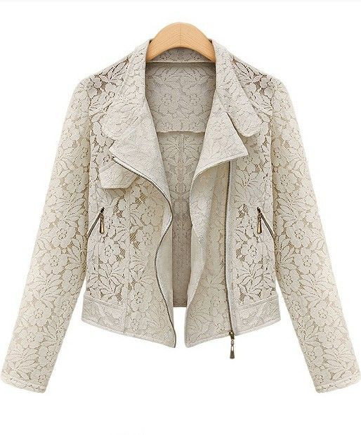 Beige Long Sleeve Hollow Lace Crop Outerwear -SheIn(Sheinside)