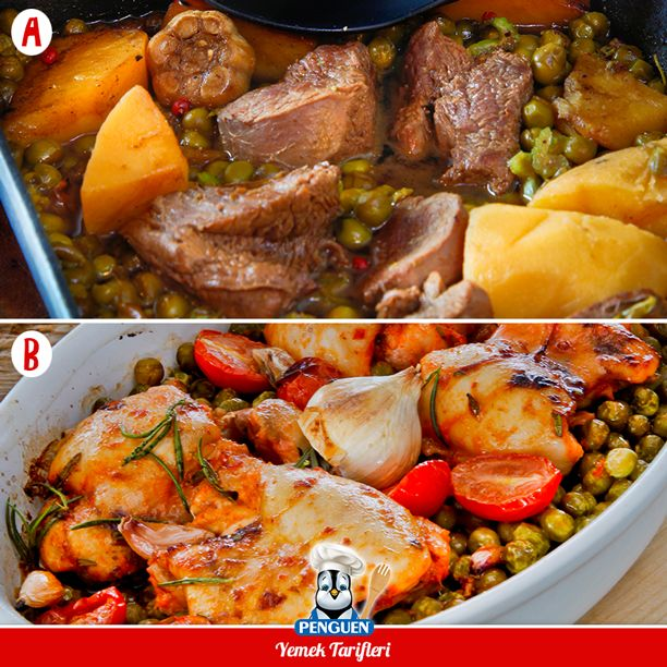Bezelye sizce kırmızı ete mi tavuğa mı daha çok yakışıyor? Seçiminiz hangi yemek olurdu? :) A-Bezelyeli Dana Yahni B-Bezelyeli Fırın Tavuk