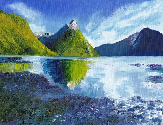 Original oil painting on canvas panel by award-winning Melbourne artist Dai Wynn.  The painting (after Rob Suisted) depicts Mitre Peak on beautiful Milford Sound in the South Island of New Zealand.  17.78 cm high X 22.86 cm wide (7 inches X 9 inches) approximately.  Available for sale online at $300.