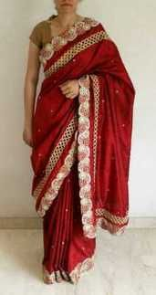 Raw Silk Maroon Handwork Saree -  online shopping for Sarees