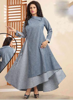 87acc67cc0 Buy designer kurti online. Shop latest indian kurti online at best price.  Order this superlative print work grey party wear kurti.