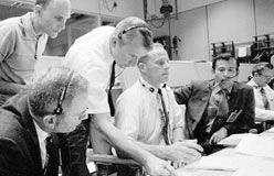 Apollo 11 and Apollo 12 were successful. Space travel began to feel like a routine event. That ended in April 1970 with Apollo 13. The spacecraft was rocked by a small explosion two days into its mission. Astronauts Jim Lovell, Fred Haise, and Jack Swigert spent four days struggling to return to Earth. Here is Mission Control in tense moments before the astronauts splashed down in the Pacific Ocean.  From Earth to the Moon ... and Back   Kids Discover