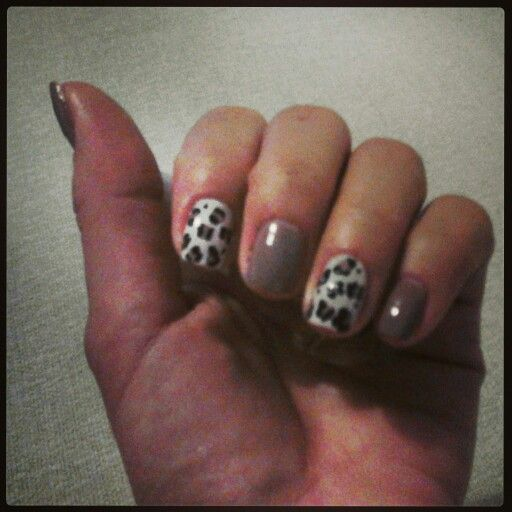 Nails, nail art, leopard print
