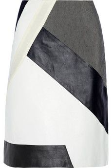 Jonathan Simkhai Riot leather-paneled skirt | NET-A-PORTER A stylish way to use scraps of leather/fabric... gotta try it