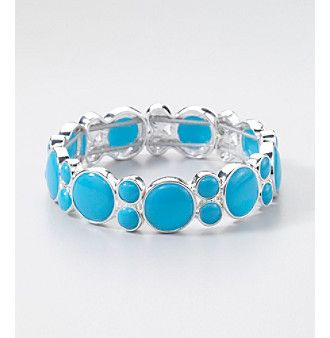 Napier Silvertone Stretch Bracelet with Blue Stones | 58% OFF