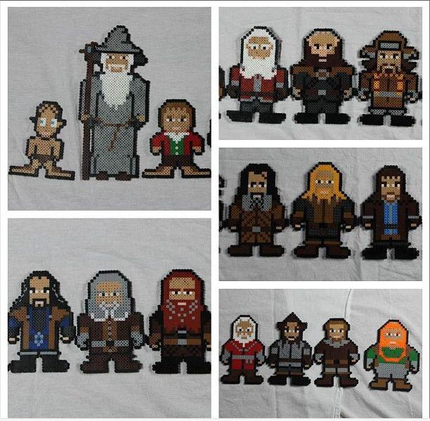 Perler bead Hobbit cast
