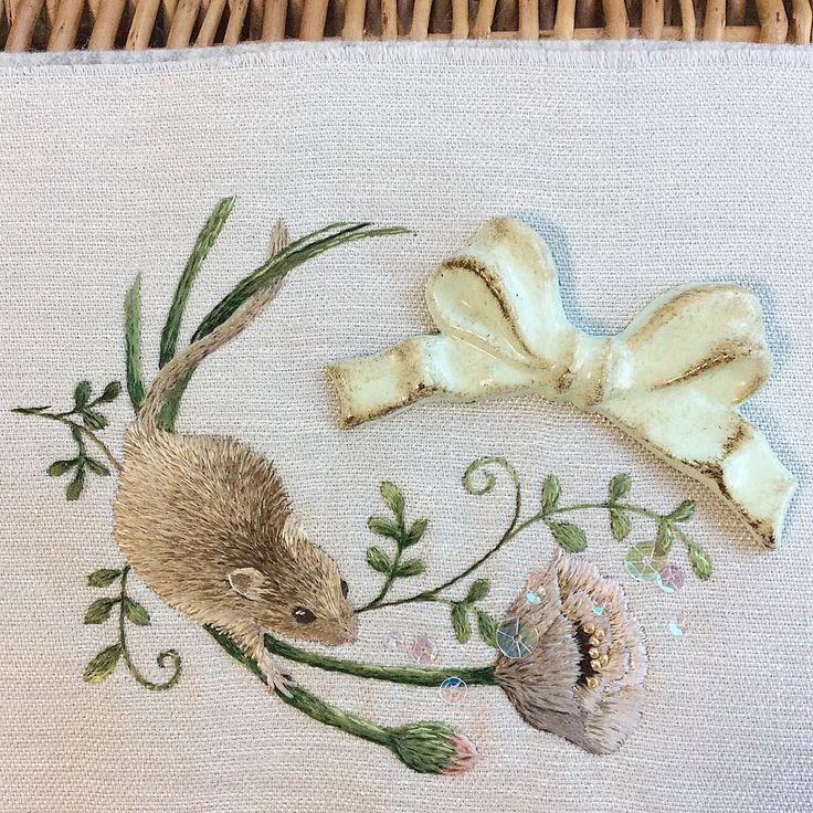 Embroidery little mouse and flowers