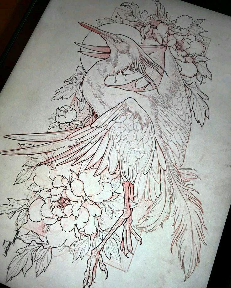 Crane tattoo Tattoo design drawings, Japanese tattoo