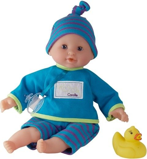 This soft doll is so light he floats - what a great bath buddy! Wearing a blue and purple striped outfit with a pacifier, he is filled with polystyrene 'beads' that dry quickly so he's ready for more fun and games #corolle # doll #bathtoys #toddler