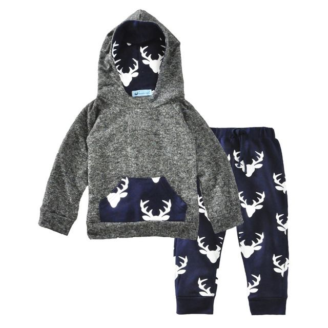 AOSTA BETTY New Year's Costume for a boy 2PCS/Set Baby Suit 2017 Deer Baby Girl Christmas Clothes Hooded Newborn Boy Clothes