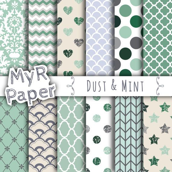 """With #love by @myrpaper in @etsy #pattern #design #graphic #paperdesign #papercraft #scrapbooking #digitalpaper Digital Paper: """"Dust & Mint"""" Digital Paper Pack & Backgrounds with Scallops, Damask, Stars, Hearts in Light Green, Grey and Fresh White  HELLO AND WELCOME TO MY SHOP  These... #patterns"""